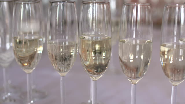 Champagne Flutes On Table video