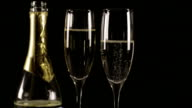 Champagne Glasses with Bottle HD video
