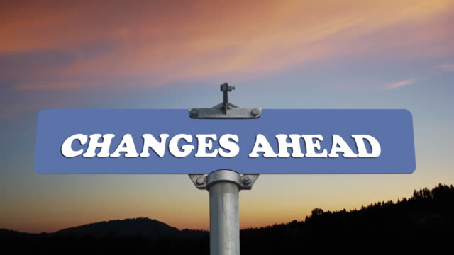 Changes ahead road sign video