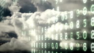Changing computer electronic numbers over an ominous churning cloudscape. video