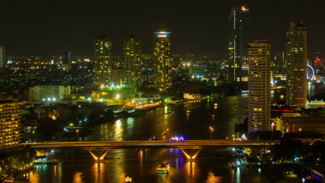 Chaophraya river night, Bangkok video