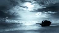 Chaotic Cloud Drift Sea Beach Thailand Silver Blue Monotone Time-lapse video