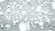 Chaotic cubes particles in air 3D animation video