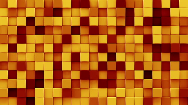 Chaotic extruded orange cubes 3D render loopable animation video