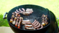 Charcoal BBQ Barbecue with Meat Cooking on the Grill video