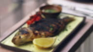Chargrilled fish, roasted tomatoes and dressing, rack focus video