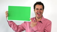 Charismatic Sales Guy With Green Screen Board, Jazzed video