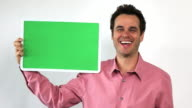 Charismatic Sales Guy With Green Screen Board, Thumbs Up video