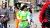 Charity Fundraisers Walking Through Town video