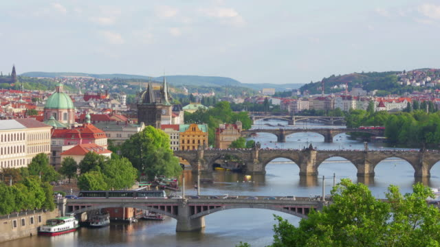 Charles Bridge and castle view Prague video