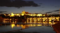 Charles Bridge and castle view Prague video