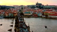 Charles bridge and Prague castle at evening video