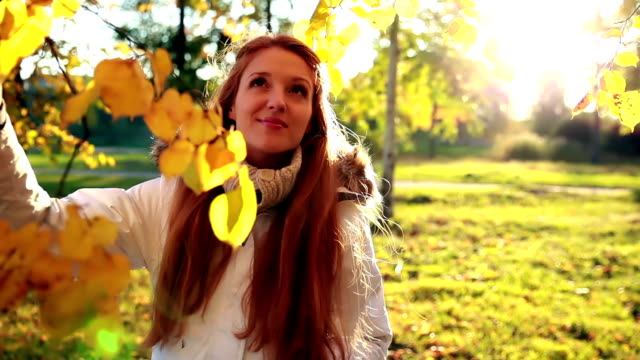 Charming red-haired girl admires yellow leaves in autumn park. Golden Autumn. video