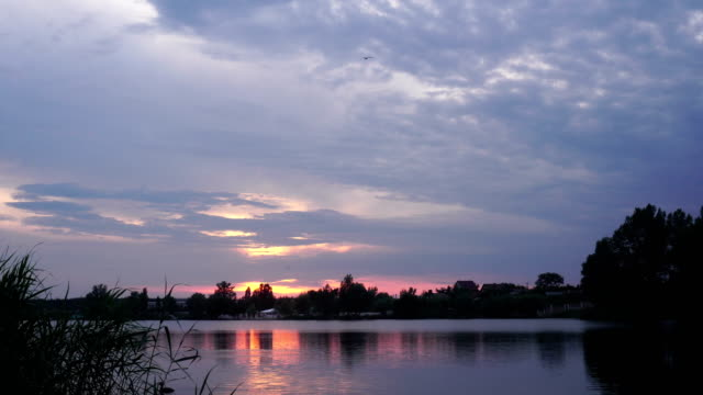 charming sunset on the lake video