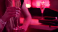 Chatting females at bar socializing drinking champagne video