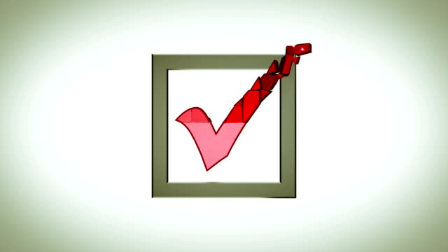 checkbox with red V abstract animation video