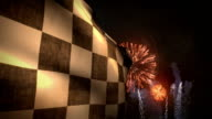 Checkered Auto Competition Sports Racing Flag Summer Fireworks Finishline Celebration video