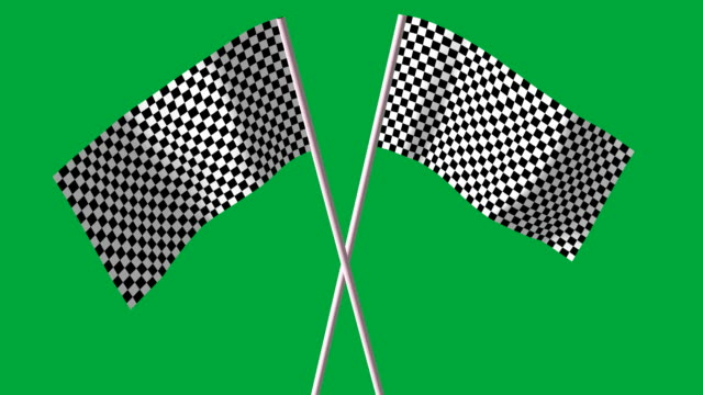 checkered black and white F1 flags video