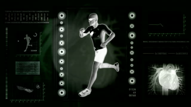 Checking human abilities. X-ray view. Health jogging. video