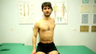checking muscle tension on the shoulders, neck, head, tendons, pain, patient video