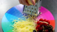 Cheddar Cheese being grated. Colourful shot. video