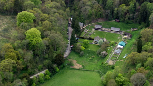 Chedworth Roman Villa  - Aerial View - England,  Gloucestershire,  Cotswold District,  United Kingdom video