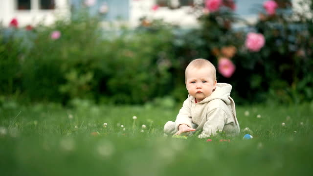 A cheerful baby girl is playing on the grass video