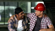 HD: Cheerful Construction Workers Having A Break video