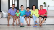 Cheerful multi generation family sitting on sofa smiling video