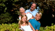Cheerful multigeneration family posing in a park video