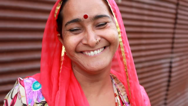 Cheerful Rural traditional Indian woman video