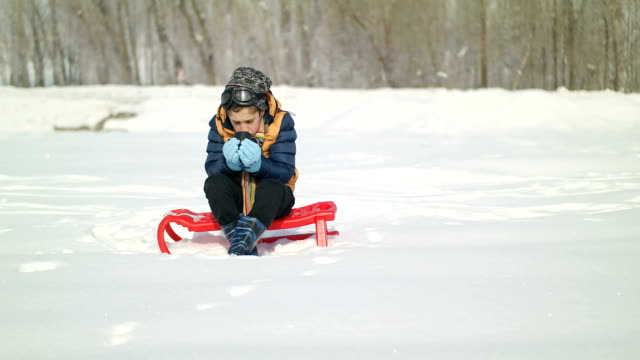 Cheerful sledding and having fun on snow video