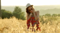 Cheerful woman on sunset. Lifestyle and happiness concept video