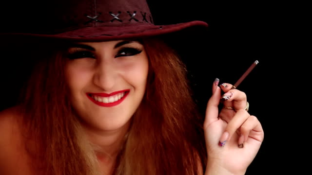 Cheerful woman with a cigarette video