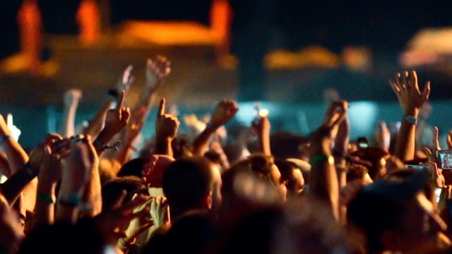 Cheering crowd at a concert slow motion. video