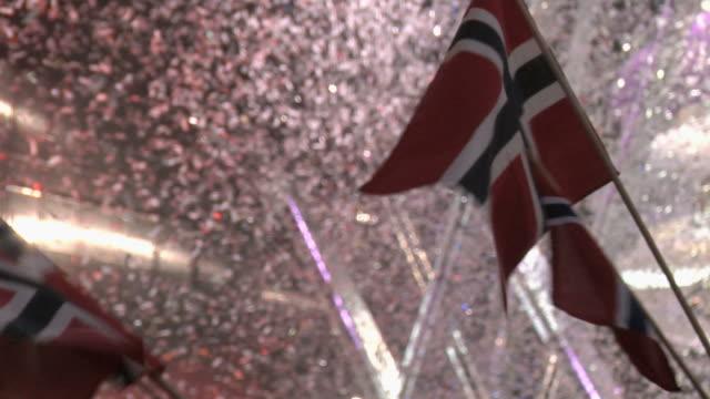 Cheering people waving norwegian flag. video