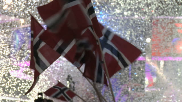 Cheering people with norwegian flag. video