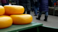 Cheese at the flower market in Amsterdam video