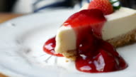Cheese cake with strawberry jam, Dolly shot video