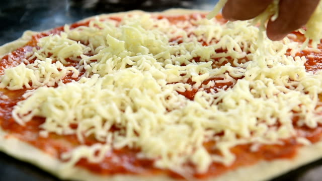 Cheese Pizza fresh on wooden board video