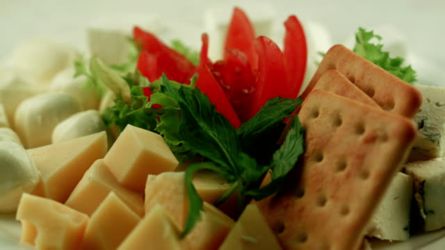 Cheese plate. Vegetarian snack video