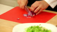 Chef chopping red onion for salad video