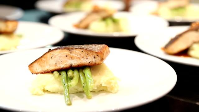 HD: Chef Cooking Gourmet Salmon Steak Entr video