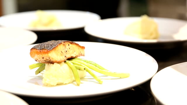 HD: Chef Cooking Gourmet Salmon Steak Entree video