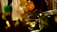 Chef cooking in kitchen video
