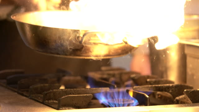 Chef cooking in Pot with fire video