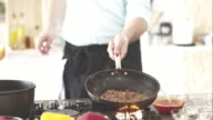 Chef cooking meat sauce video