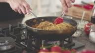 Chef cooking spaghetti video