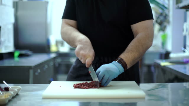 Chef cuts meat video