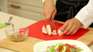 Chef cutting boiled chicken fillet for salad video